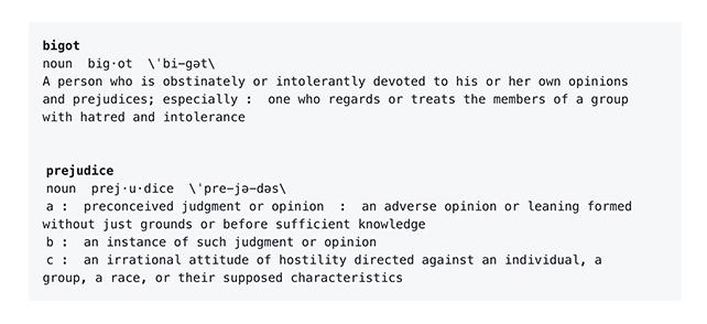 Defining bigotry