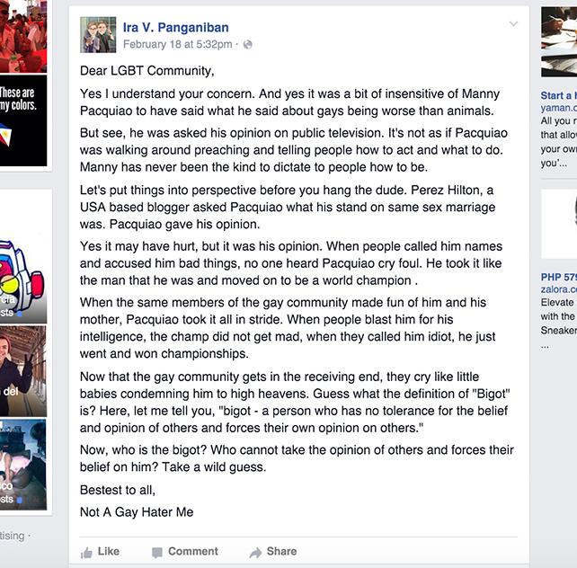 SCREENGRAB FROM IRA V. PANGANIBAN'S FACEBOOK ACCOUNT