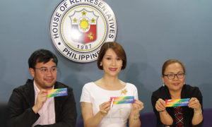 Rep. Geraldine Roman (1st District, Bataan) launched the Anti-Discrimination Bill Based on Sexual Orientation and Gender Identity (ADBBSOGI) at the House of Representatives together with pro-LGBT rights legislators, Representatives Kaka Bag-ao and Christopher de Venecia. The pro-LGBT rights advocates raise a #EQUALITYCHAMPIONS sign during the said press conference.