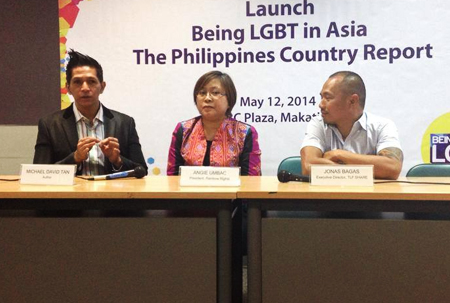 "At the launch of the ""Being LGBT in Asia: The Philippine Country Report"", with (from left) Michael David C. Tan, R-Rights's Angie Umbac, and TLF Share Collective's Jonas Bagas. ""There are success stories that seem to show that LGBT Filipinos are – finally – getting 'accepted' by society. (But) we need to realize that we've barely scratched the surface. So much still needs to be done before we can finally say that LGBT people are treated as equals of non-LGBT people,"" Tan says. PHOTO COURTESY OF BELLA MARDS CALBAY OF GANDA FILIPINAS"
