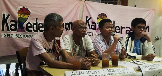 "Allan Tolosa and Murphy Red (from left) were among the first and the bravest to parade in the LGBT Pride in1994. Tolosa said that after 20 years, discrimination still exists. ""What makes discrimination painful for the LGBT community is the fact that it is further aggravated by poverty and sub-human socio-economic condition brought about by discrimination,"" he said. Murphy Red, an artist based in Antipolo believes that the current political system remains not genuinely in service of the interests of the broader majority, including the LGBT sector. With them are Corky Hope Mara?an, spokesperson of Kapederasyon, a nationwide LGBT organization and Lean Aseron (seated far right), who came out in public as a person living with HIV. Aseron was diagnosed as HIV positive in 2009."