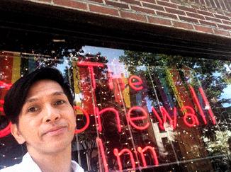 The author, in front of the historic The Stonewall Inn