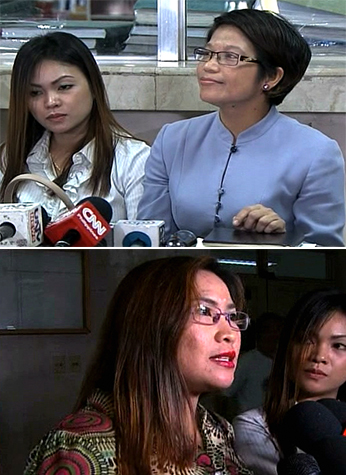Atty. Virgie Suarez (TOP), and Jennifer Laude's siblings face the media.