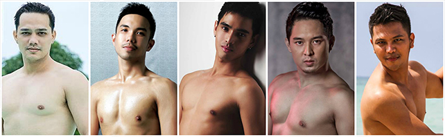 Past Filipino reps in Mr. Gay World who made it to the semifinal round include (from left) David Noel Bosley in 2010, Marc Ernest Biala in 2011, Carlito Rosadiño in 2012, Erimar Ortigas in 2013 and Randolph Val Palma in 2014.