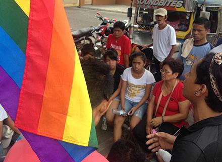 """For Claire, """"hindi na ito naging usapin lang ng pagiging LGBT; usapin na rin ito ng kawalan ng karapatan maging LGBT man o hindi (This is no longer just an issue of being LGBT; this is also an issue of the lack of rights for LGBT and for non-LGBT people)."""""""