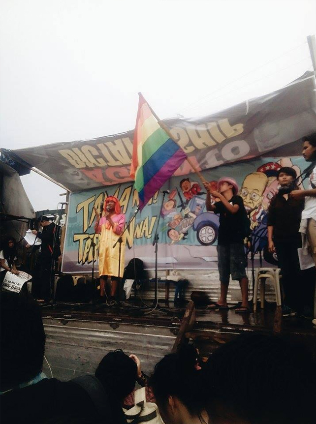Various LGBT organizations also joined those who expressed their discontent with the administration of Pres. Benigno Aquino III, particularly since - almost six years after taking office - the plight of LGBT people has not progressed, with, among others, the lack of an anti-discrimination law. (PHOTO BY AARON BONETTE)