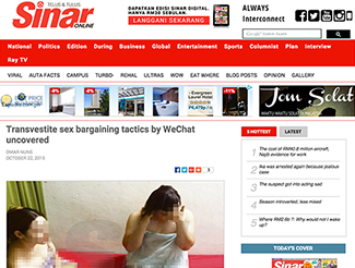 Local media covering the entrapment of transpinays said to be engaged in sex work in Malaysia