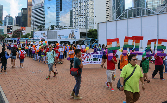 Participants and allies march in the streets of Central District as part of the first Pride Migrants' March on 8 November 2015 (PHOTOS BY COCOY SABAREZA)