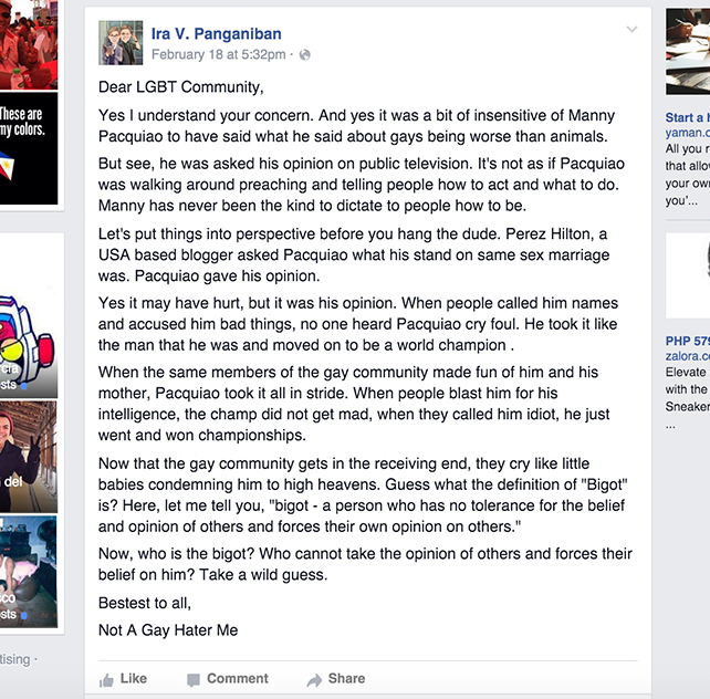 SCREENGRAB FROM IRA V. PANGANIBAN'S FACEBOOK ACCOUNT