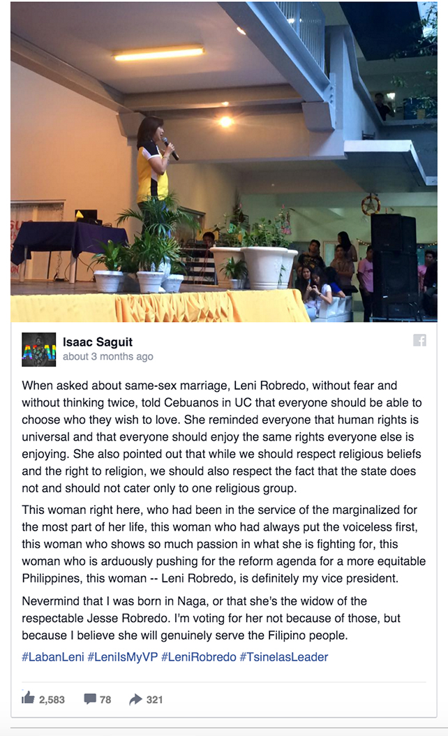 Leni Robredo supports civil union